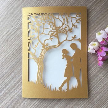 100pcs/lot Personalized Laser Cut Wedding & Engagement Invitations Birthday Card Party Favor Valentine's Day Gift