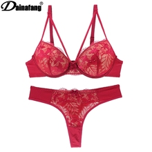 Sexy Lace Bra Intimate Set Push up Lcate Sexy Lingerie Set Panty Underwear 3/4 Cup 70B 75B 80B 85B