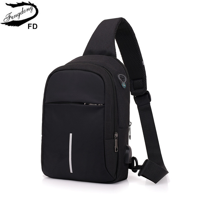 FengDong small crossbody bags for men one shoulder sling chest bag pack casual mini messenger bag with usb port dropshippingFengDong small crossbody bags for men one shoulder sling chest bag pack casual mini messenger bag with usb port dropshipping