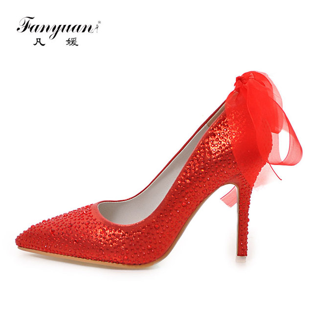 06dcac10f43 Sexy 10cm Stiletto High Heel Shoes Women Ribbon Pointed Toe Red Pumps Shoes  Silver Glitter High Heels Lady Wedding Shoes Crystal