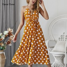 Long Maxi Dress For Women Polka Dot Elegant Boho Dress Halter Strap Backless Evening Party Beach Dresses Vintage Sexy Sundress цена и фото