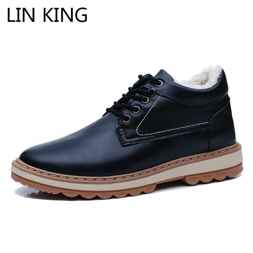 LIN KING New Warm Plush Men Short Boots Lace Up Winter Martin Boots Solid Pu Leather Safety Boots Male Cotton Padded Ankle Botas