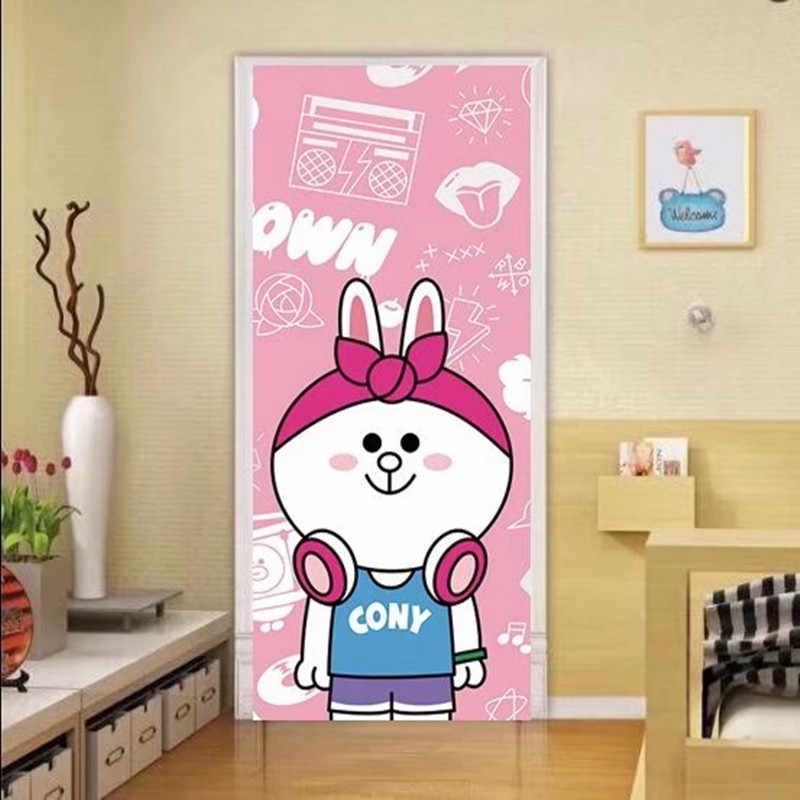 90x200 см/77x200 см розовый милый мультфильм кролик дверь стикер домашний Декор ПВХ самоклеющиеся обои Девушка Детская комната украшения