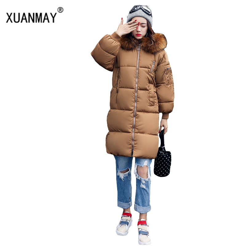 High quality Cotton winter new Ms Long section Thicker warmth Hooded fox fur collar Down jacket large size Loose Cotton jacket winter new down jacket women 2017 oversized luxury fur collar thicker coat in the long section of 20 30 40 years old