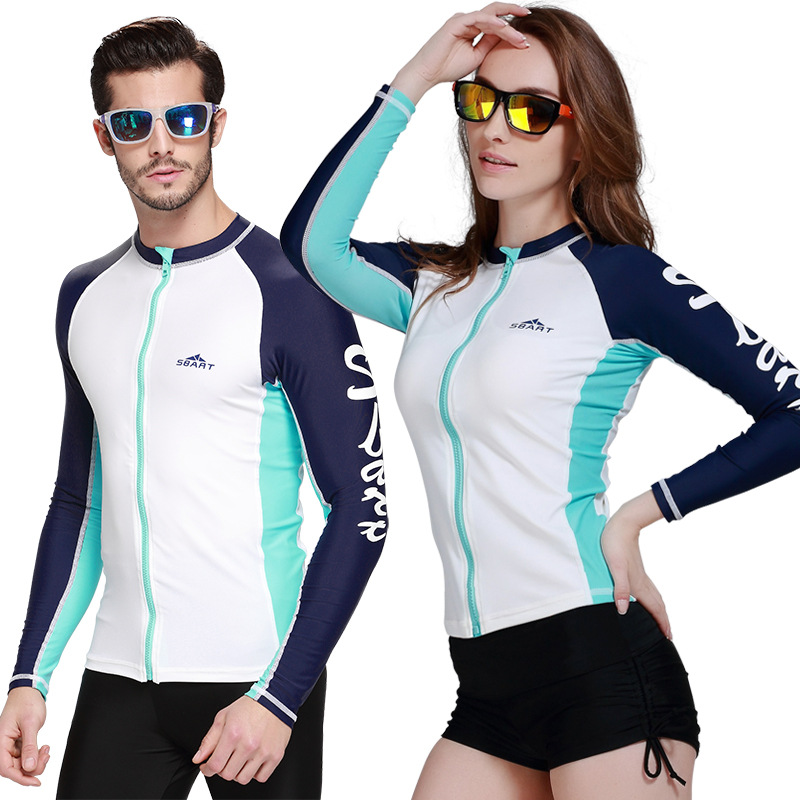 36b752fac6 Sbart couple swimsuit diving t shirt rash guard surf wetsuit surfing clothing  couple beach wear sailing