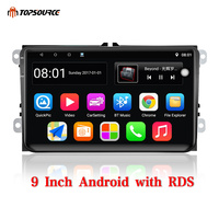 TOPSOURCE Car Multimedia Player 9 Inch Android 2 Din With GPS Wifi RDS Car Radio For VW/Volkswagen/POLO/PASSAT/Golf/Skoda/Fabia
