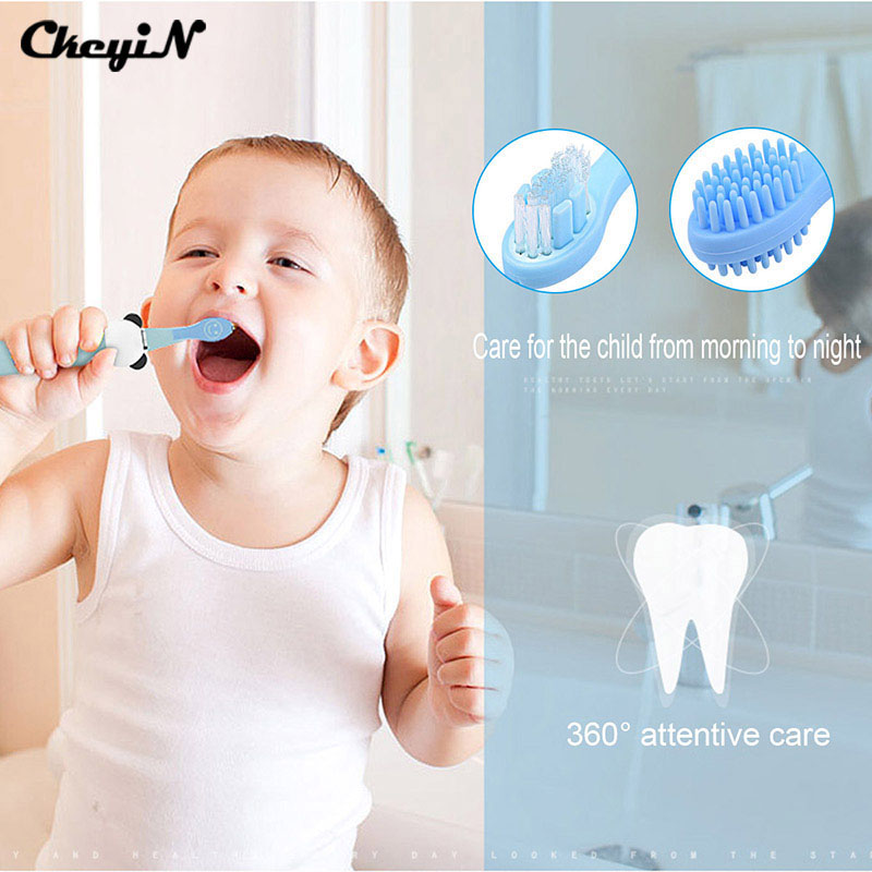 ФОТО CkeyiN Rechargeable Sonic Vibration Electric Toothbrush For Children Kid Cartoon Oral Ultrasonic Toothbrush Tooth Tongue Cleaner