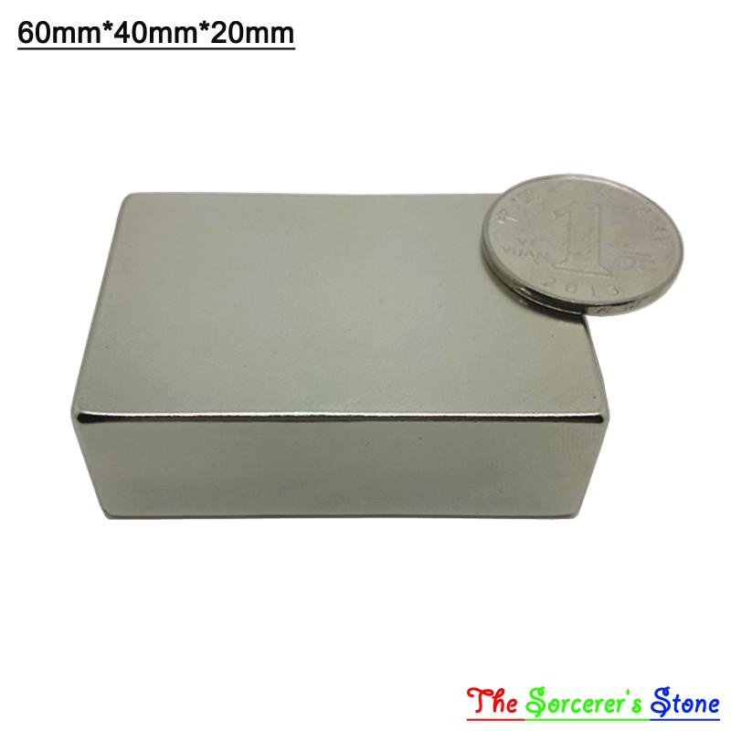 1pcs Super Strong 60x40x20mm Rare Earth Neodymium Block Magnet Free Shipping free shipping sop32 wide body test seat ots 32 1 27 16 soic32 burn block programming block adapter