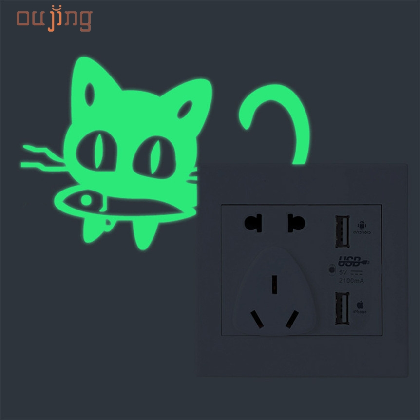 Home Wider AWOO Cute Creative Kitten Cat Luminous Noctilucent Glow Switch Wall Sticker Home mar7 Drop Shipping