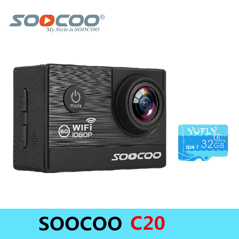 SOOCOO C20 Action camera 30M Waterproof Sports Camera 2-Inch LCD Screen Wifi FPV Action Camera 1080P Full-HD Video Night Vision f88 action camera black