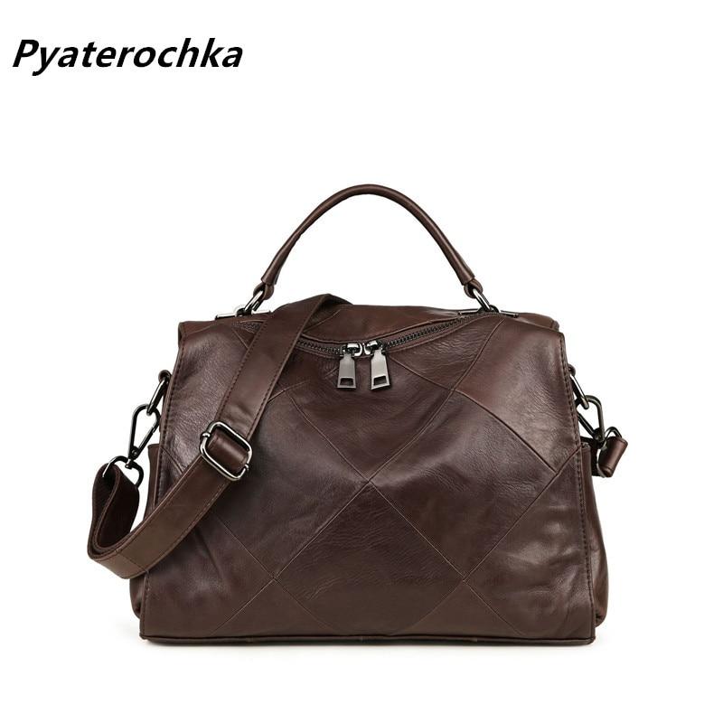 Pyaterochka ที่มีชื่อเสียงยี่ห้อ 2018 แนวโน้มกระเป๋าถือผู้หญิงหนังแท้ลำลองไหล่กระเป๋าคุณภาพสูงราคาถูกกระเป๋า-ใน กระเป๋าสะพายไหล่ จาก สัมภาระและกระเป๋า บน   1