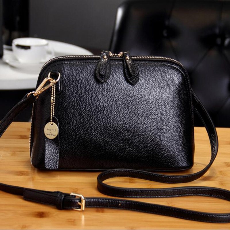 2017 Fashion Women Pu Leather Shoulder Bag Double Zipper Shell Bags Casual Handbags Small Lady Messenger Cross Body Bag boston double zipper women leather handbags silver black messenger bags best shoulder bag free shipping