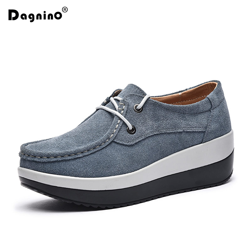DAGNINO New Brand Spring Autumn Women Flats Platform Loafers Shoes Female Suede Leather Casual Shoes Lace-Up Moccasins Creerper de la chance spring women flat platform loafers ladies split leather moccasins shoes woman lace up moccasin women s casual shoes