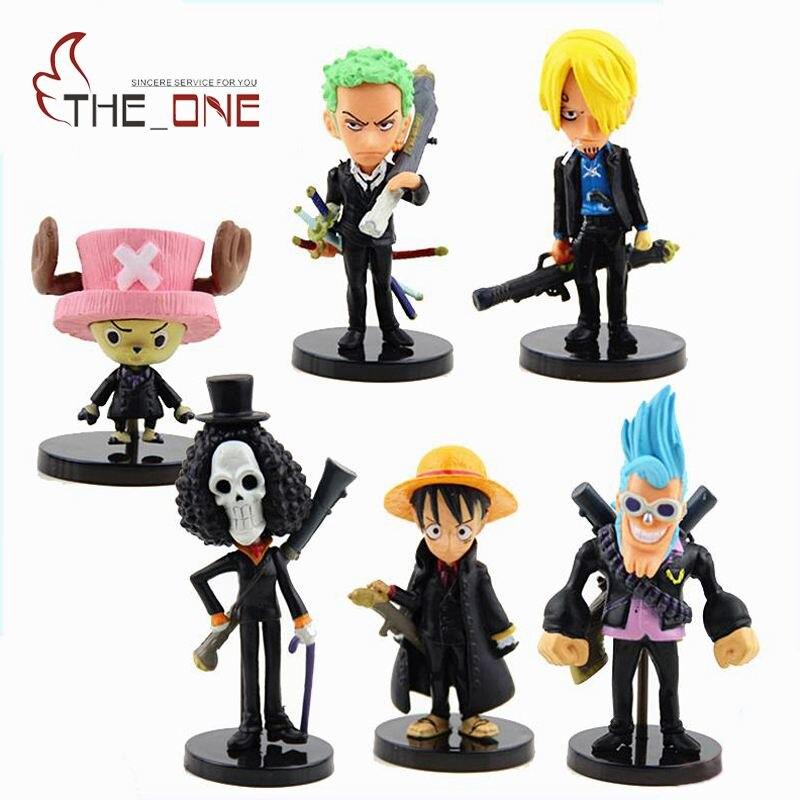 c8d7945d 6 unids/set 5-7 cm dibujos animados una pieza Luffy el sombrero de paja  piratas PVC Anime acción figura juguetes niños adulto colección modelo  regalo P019