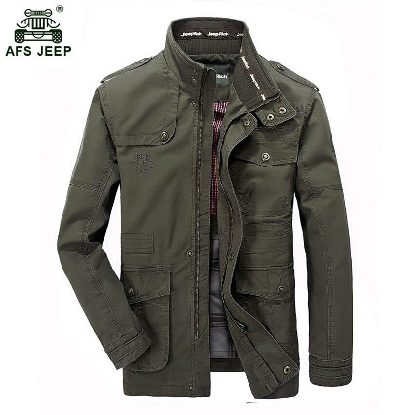 Marque 2018 Stand Col Coton Militaire Vestes Hommes Printemps Automne Casual Multi-poche Vestes Jaqueta Masculina Taille M-7XL 130wy