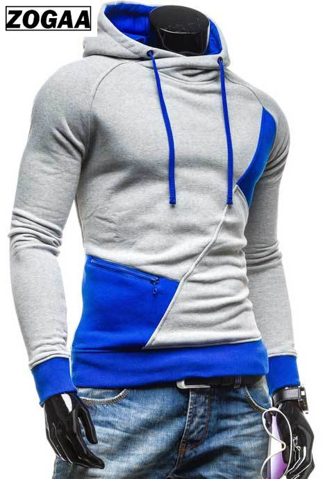 spring and autumn new hoodie men's matching color patchwork jumper Korean version of men's coat 6