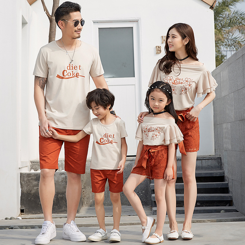 Family Matching Clothes 2018 New Letter Print T Shirt+lace Shorts Set/2pcs Dad Son Sport Suit Family Clothing Korean Casual Sets letter print raglan hoodie