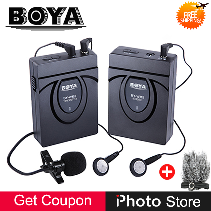 BOYA BY WM5 Pro 2.4GHz GFSK Wireless Clip on Lavalier Lapel Microphone System for DSLR Camera Camcorders Video Audio Recording