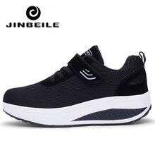 Slimming Women Sneakers Fitness Platform Summer Wedges Rocking Shoes Femme Hook & Loop Zapatillas Deportivas Mujer For Elder