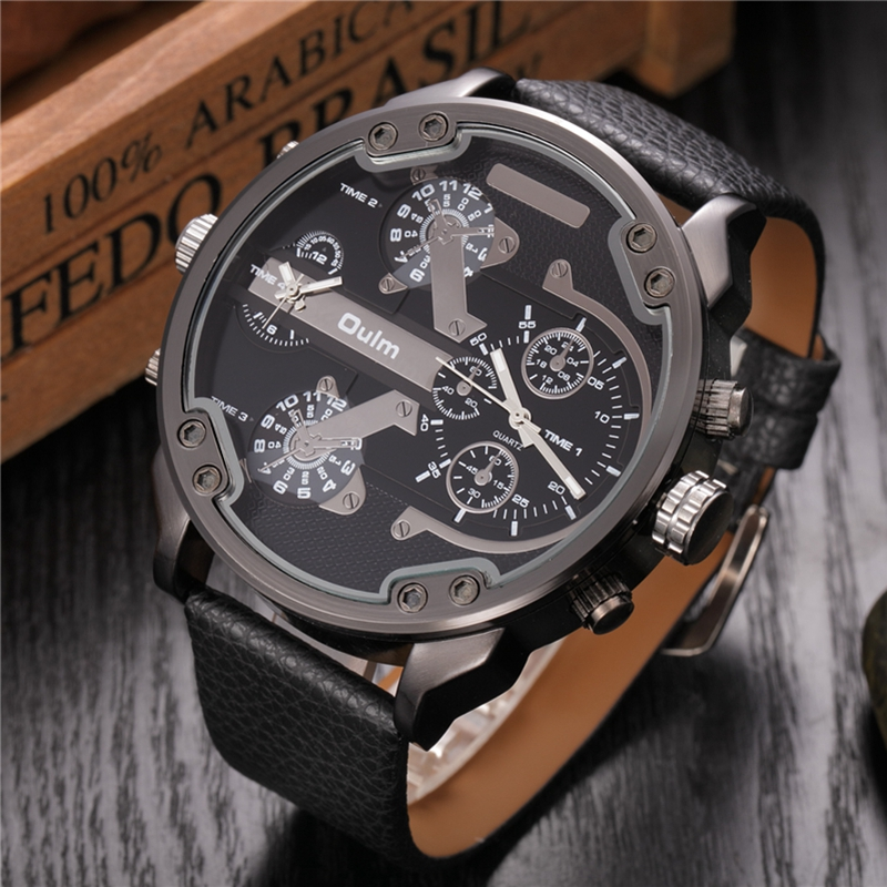 Oulm Large Big Quartz Watch Men Casual PU Leather Two Time Zone Watches Men's Top Brand Luxury Military Clock Relogio Masculino