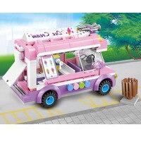 213pcs Girls Birthday Gifts City Ice Cream Car Legoings Building Blocks Kit Toys