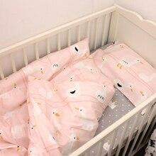 Juego de cama para bebé 2pca, juego de cama de cuna para recién nacido, funda nórdica + funda de almohada, diseño de pato rosa para niñas