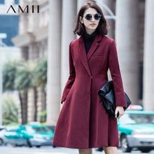 Фотография Amii Casual Women Woolen Coat 2017 Winter A-Line Covered Button Turn-down Collar Female Wool Blends