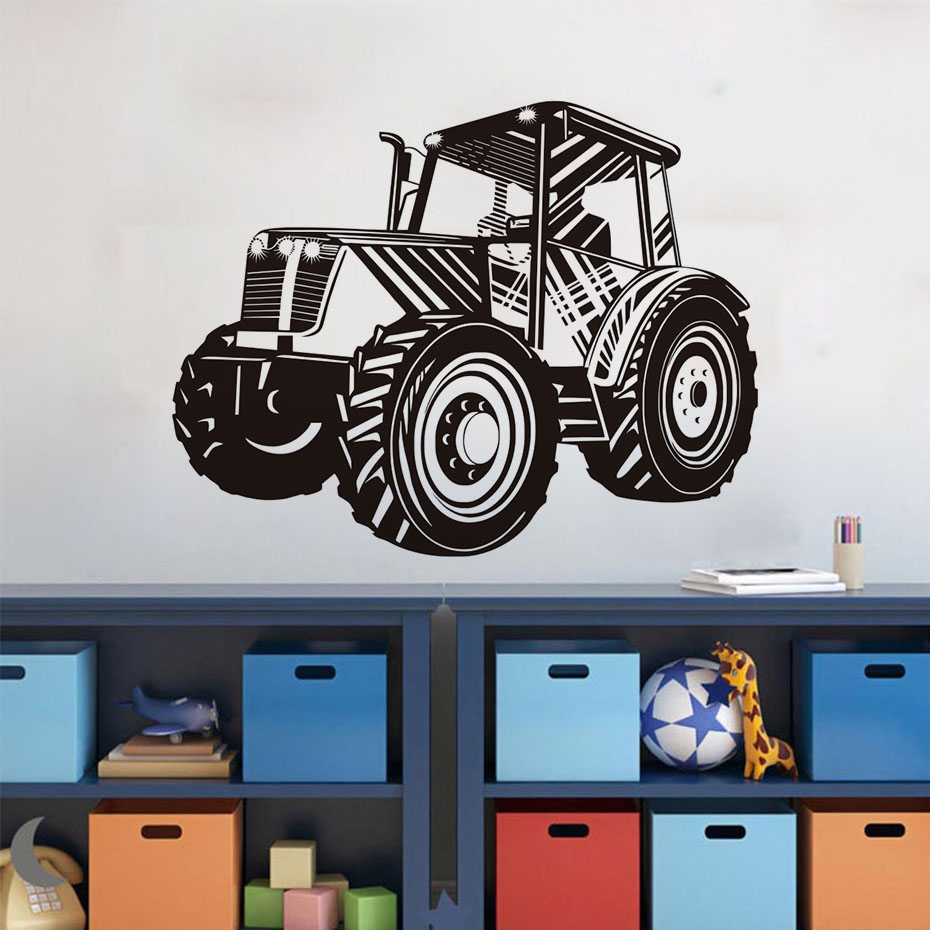 Boys Bedroom Decor Decals Fashion Tractor Wall Sticker Home