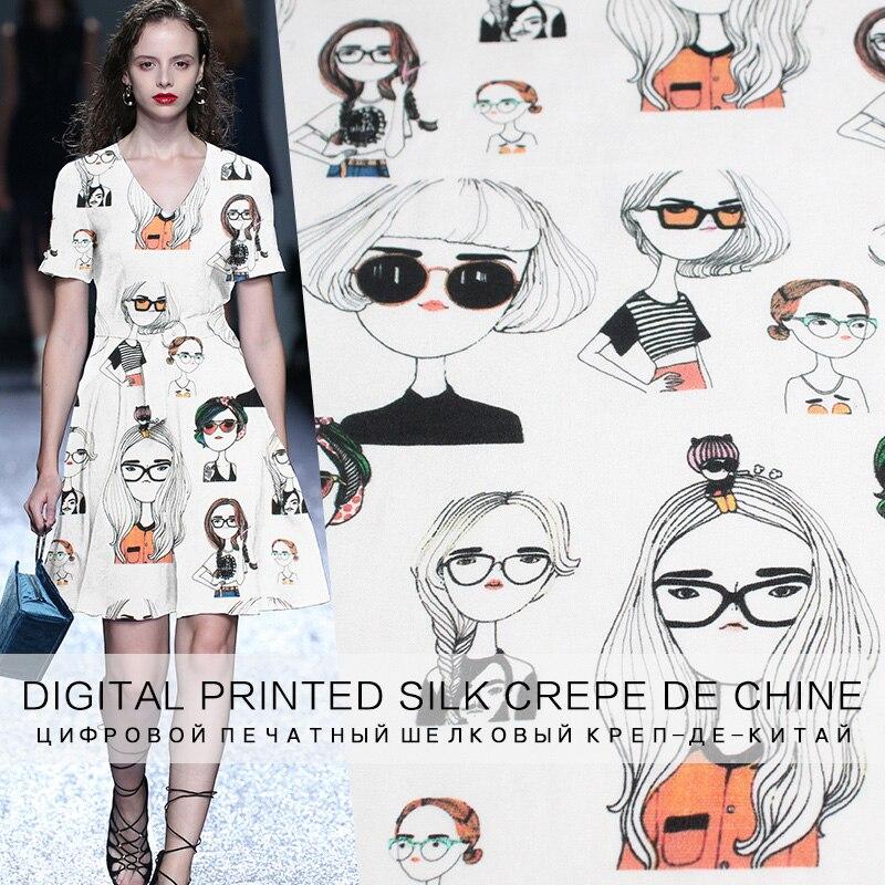 Pearlsilk 12momme blanc filles imprimé crêpe de Chine 100% mûrier soie matériaux chemise robe bricolage vêtements tissus livraison gratuite