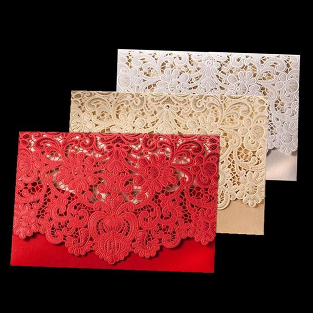 50pcs Rustic Wedding Supplies Red White Vintage Luxurious Elegant Golden Laser Cut Wedding Invitation Card With