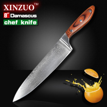 "XINZUO 8 "" chef knife Japanese Damascus kitchen knife senior meat vegetable knife Color wood handle kitchen tool free shipping"