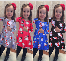 2016 Hot Christmas  Girls  dress Long sleeve  snowman  Girl Christmas dress costume children clothes Ready