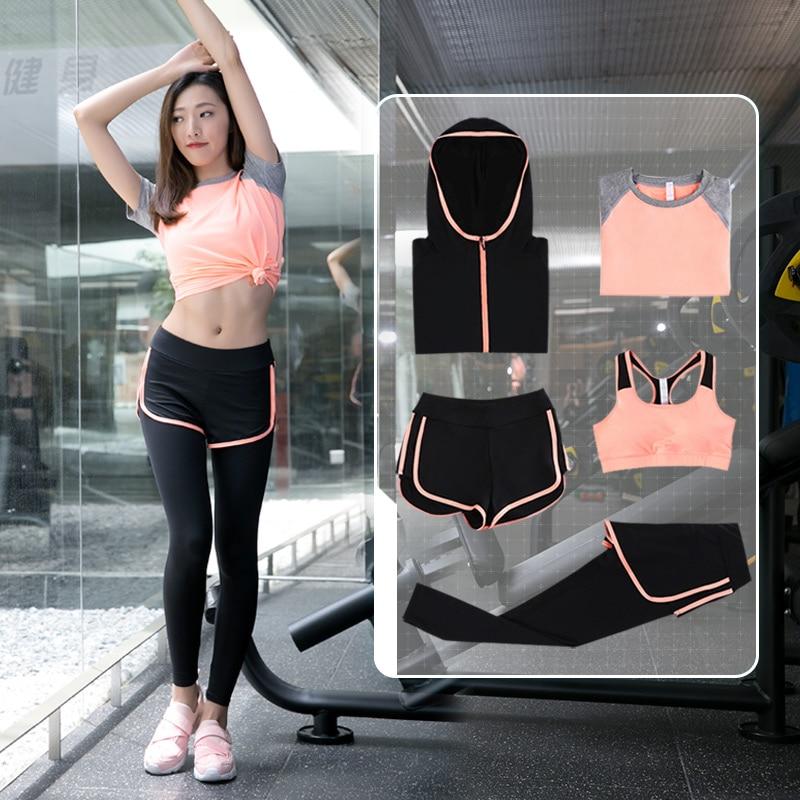 Top qualité femmes Fitness course ensemble T-Shirt et soutien-gorge et pantacourt ensemble de Sport yoga Gym vêtements Sport porter un costume d'entraînement