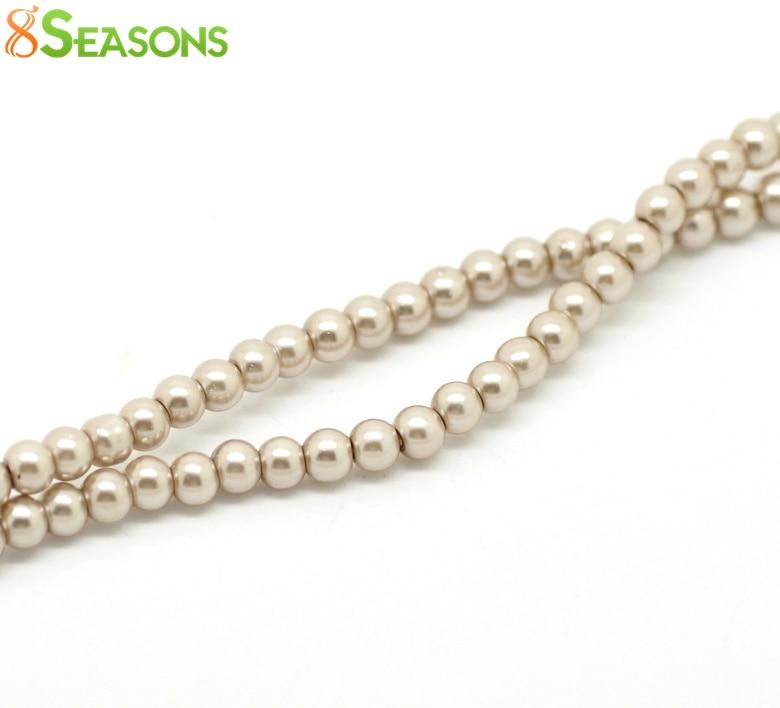 8 estaciones 5 hebras de luz de café de cristal perlas de imitación redonda  Cuentas 4mm (1 8 ) Dia. 82 cm largo (B19055) 5666abc4ab8e