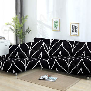 Sofa-Cover Chaise Longue Living-Room Elastic L-Shaped Cotton-Set Geometric 2pieces-If