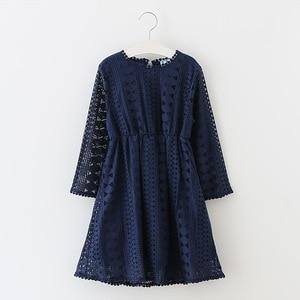 Image 4 - Girl Long Sleeves Lace Dress Child Baby Princess Wedding Party Girls Dress, White/Dark blue