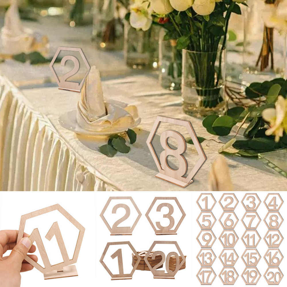 20pcs Wedding Props Number Card Set Wooden Dinner Seat Number Table Cards Seating Assignment Home Party Decor Figure Indicator