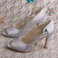 Helens Wedopus Zapatos de Dama de honor de Plata Peep Toe Mujeres Bombas Tacones Altos Dropshipping