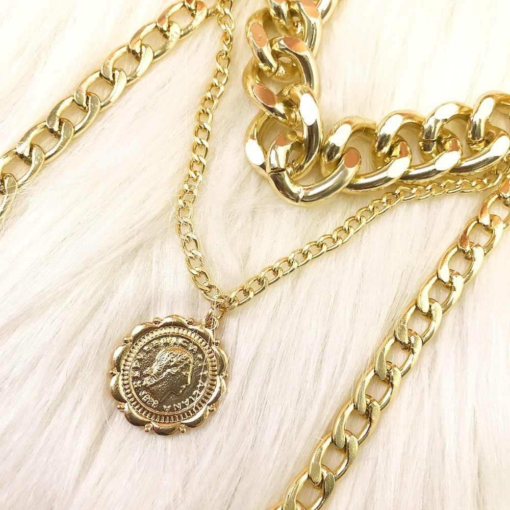 ZHIMO פופ פאנק רב שכבתי זהב כסף צבע שרשרת ראש עגול תליון לנשים סוודר שרשרת דובאי תכשיטי כדור קישוט