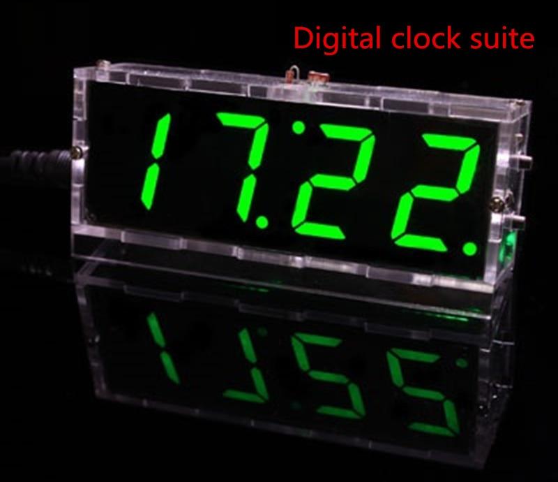 Diy digital clock voice timekeeping clock kits, LED DIY SCM training diy electronic clock/watch 4 colors clock