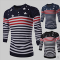 new arrival 2015 men's long-sleeve cotton comfort sweater with stripes fashion star design pullover knited sweater free shipping