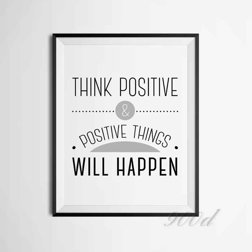 Think positive inspiration quote canvas art print painting poster wall pictures for home decoration fa317 in painting calligraphy from home garden on