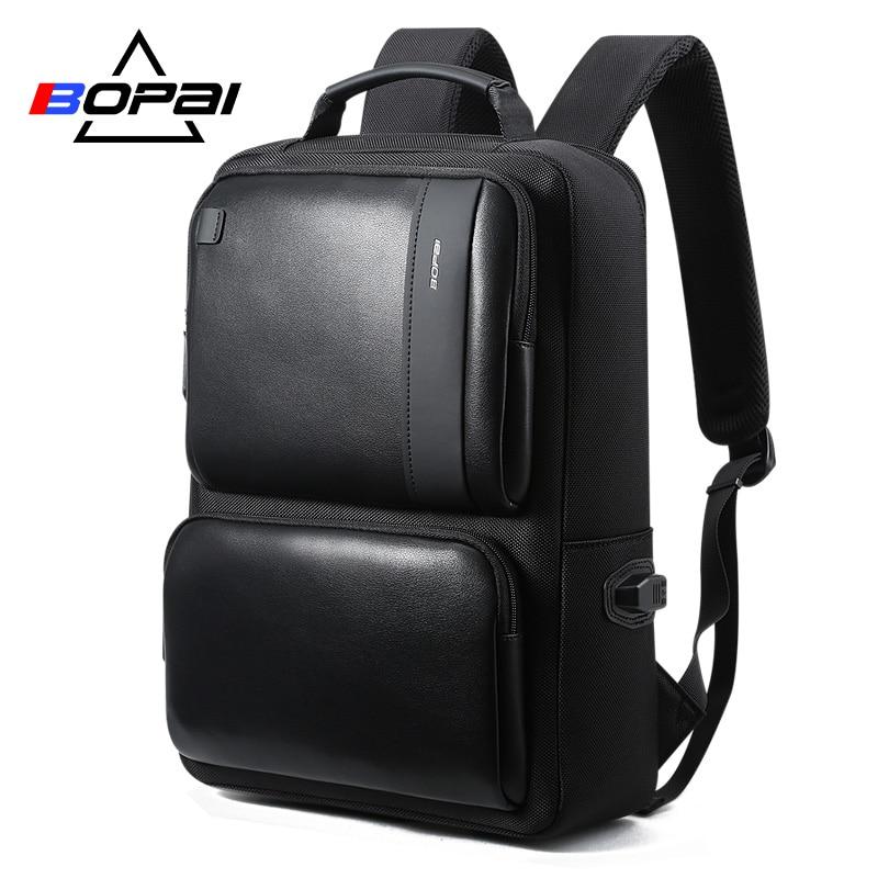 BOPAI Black Leather Backpack College Bag for Boys Mens Anti Theft Back Packs Travelling Bags Korean