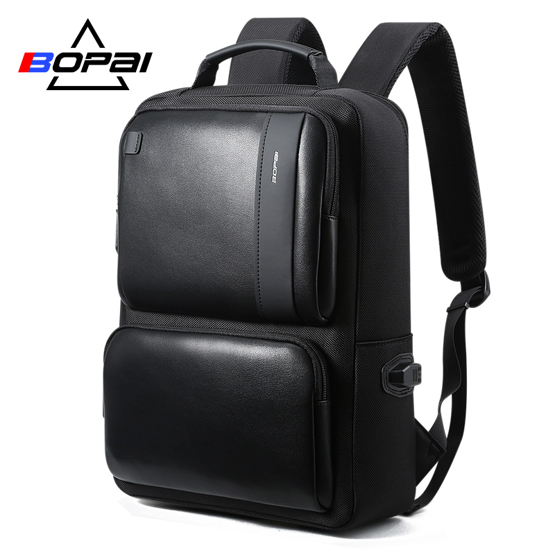 BOPAI Black Leather Backpack College Bag for Boys Mens Anti Theft Back Packs Travelling Bags Korean Style Men Backpack Schoolbag image