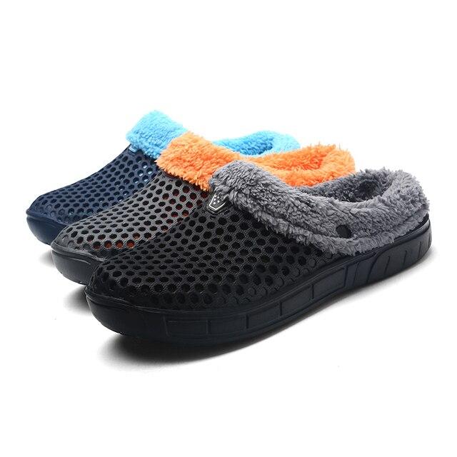 2018 Winter Croc Shoes Beach Sandals Soft Plush Cotton Warm Slides flats  Shoes Unisex Floor Home Women Hole Slippers Fishing 816296d23d64