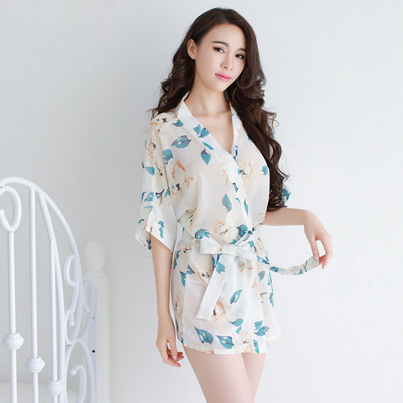Women Sexy Chemises Chiffon Transparent Bath Robe Thong Set Women Sexy Homewear Floral Pajamas