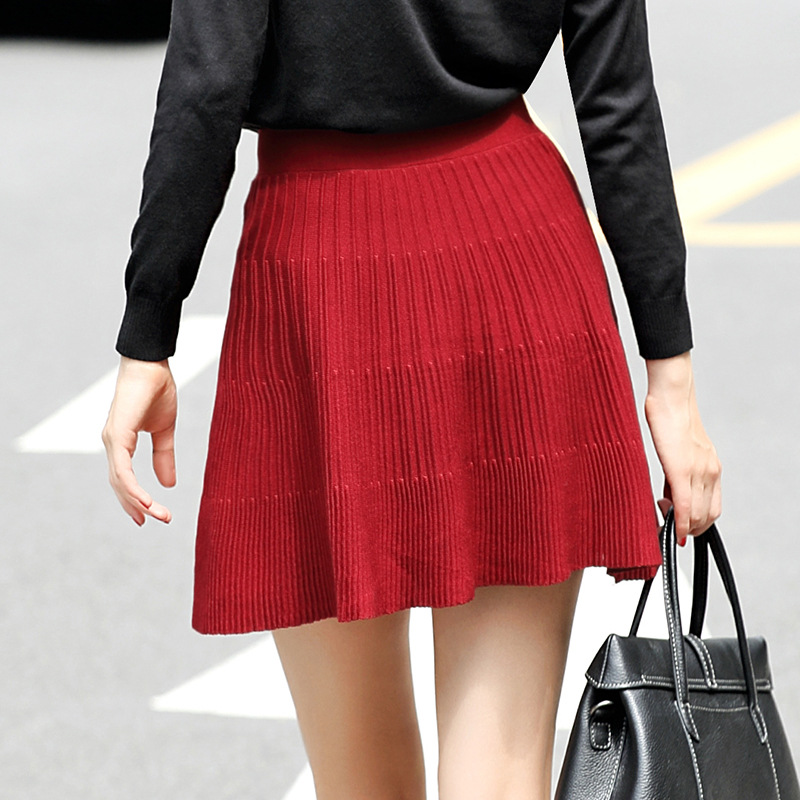 New Listing Knitted Pleated Petti Ruffle Tutu Short Skirt Women Sexy Casual Black Elegant Long Skirts Womens Autumn Streetwear