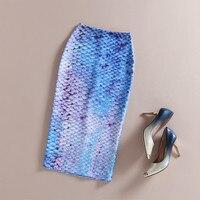 Automne Nouvelles Dames Bleu Clair Sexy Sirène Imprimé floral Midi Haute Taille Crayon Jupe Mince Élastique