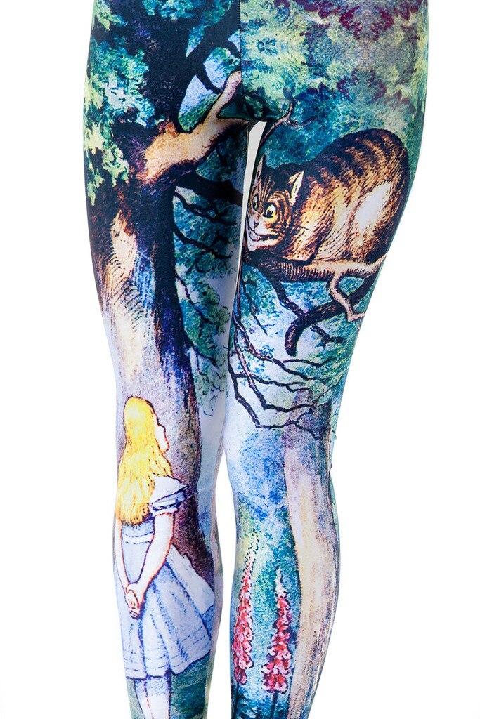 Women s Cheshire Cat Legging Alice In Wonderland Costumes Bottoms Spandex Pants Knit Leggers Plus Size