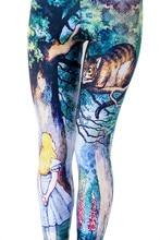 Women's Cheshire Cat Legging Alice In Wonderland Costumes Bottoms Spandex Pants Knit Leggers Plus Size S-4XL
